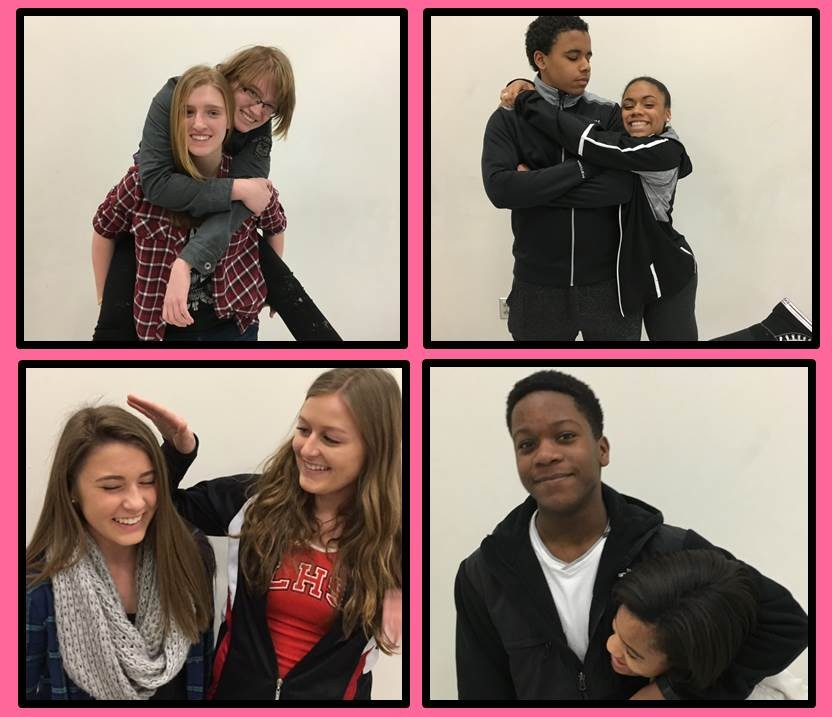 Siblings show their love for each other. Clockwise from upper left- Kate and Anne Cameron, Jackson and Kennedi Ambush, Devin and Haley Barge, and Alyse and Gail Montgomery.