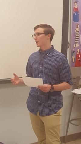 Junior Brendan McCann argues against the statement