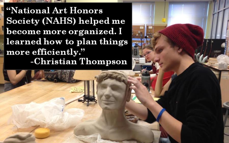 Senior Christian Thompson, co-president of the NAHS,  works on his ceramics piece.