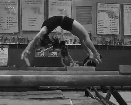 Alyse Montgomery completes her balance beam routine at practice.
