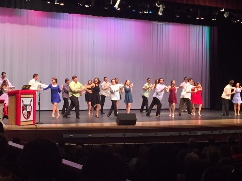 Mr. Linganore 2016 contestants dance the hustle along with their escorts.