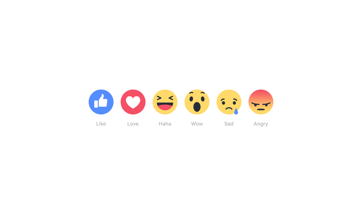 The new Facebook 'reactions' include 'love,' 'haha,' 'wow,' 'sad,' and 'angry.'