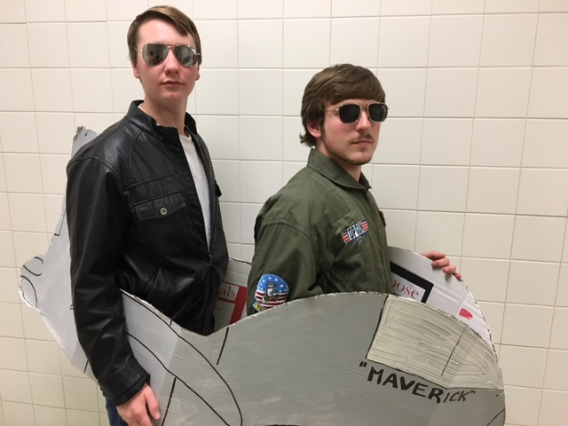 Zack and Weston prepare for their entrance at Mr. Linganore 2016