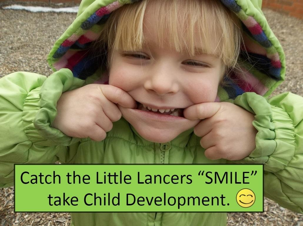 A Little Lancer hams for the camera during playground time.  This image is part of the promotional materials for the course.