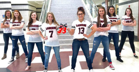 (From left to right) Seniors Kayla Harner, Aubrey Naill, Mariah Strawley, Bri Fay, Lauren Stutz, Kayla Sheehy, Karly Johnson, and Elena Guardia pose with a beloved cheer bow.