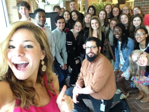 Lancer Media poses for their annual selfie with City Editor for the Frederick News Post Pete McCarthy.