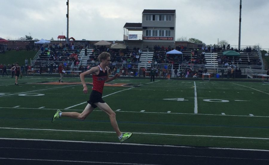 Micah Hewitson leads the pack to a county title in the 1600 meter run at the Frederick County Championships.