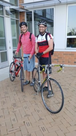 Hines and Beaver pedal to school for Bike to Work Day:  Photo of the Day 5/20/2016