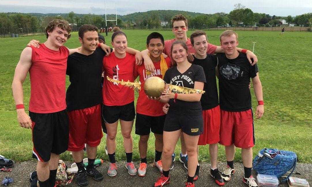 The winning Quidditch team, the Whimsical Wizards, holding their snitch trophy after a nail-biting tie breaker game. From left to right: seniors Andrew Brady, Emma Roerty, Luke Staley, Nathan Horch, junior, seniors Ben Plugge, and Jacob Moorman.