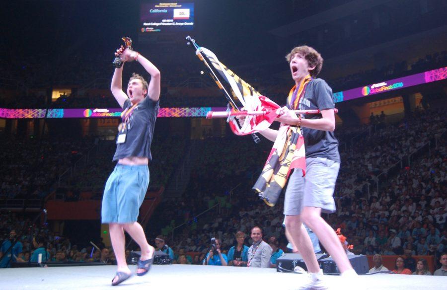 Garret+Wiehler+and+Lincoln+Robisch+celebrate+after+their+World+Championship+victory.