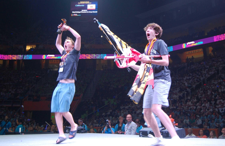 Garret Wiehler and Lincoln Robisch celebrate after their World Championship victory.