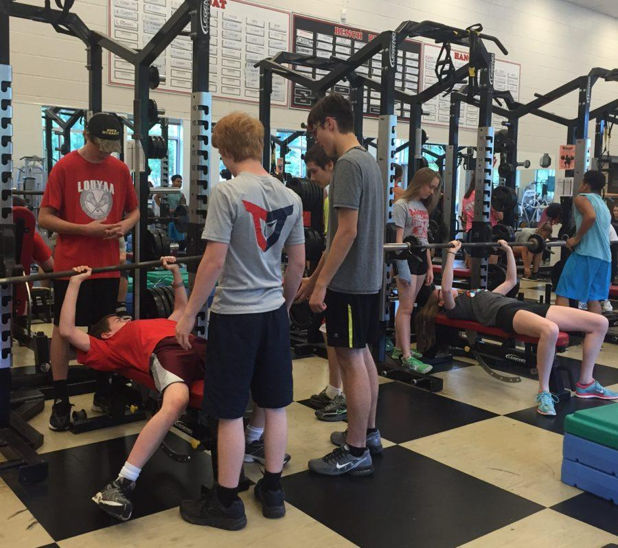 The Class of 2019 works hard while in the weight room for physical education.