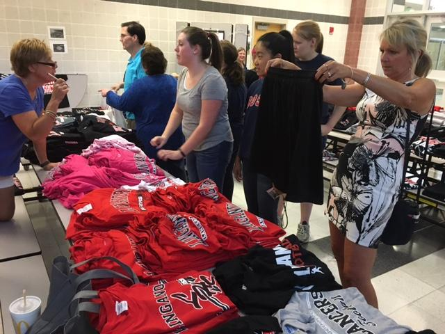 Erin Lafferty and others check out LHS spirit gear.
