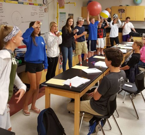 Mrs. McCauley's fourth period class does a scale comparisons of the planets using various sized balls.