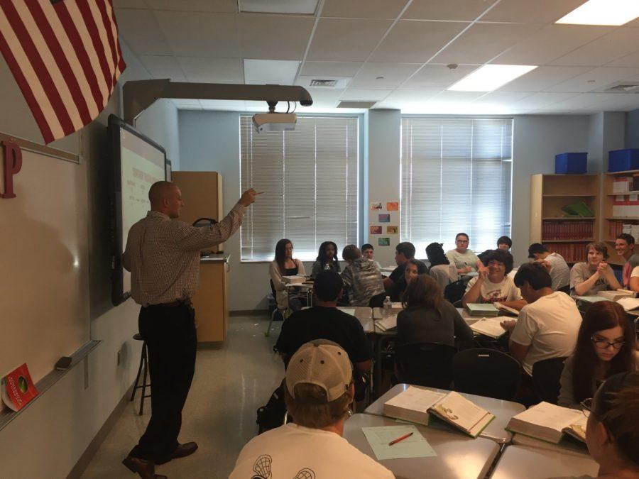 Jesse Bortner teaches to his English 10 class.