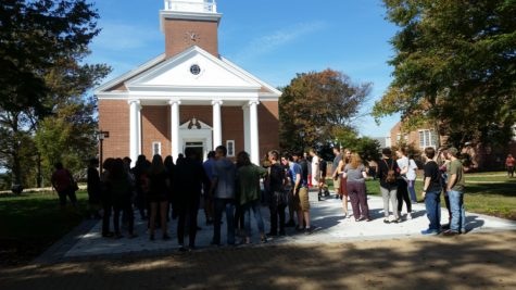 After a long day, Linganore students wait for the bus at the chapel.