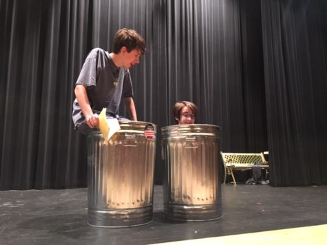 Class of 2017 members Garrett Wiehler and Elise Fenstermacher perform a scene from The Actor's Nightmare