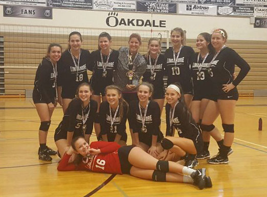 JV volleyball team stands with their medals after winning the county tournament.
