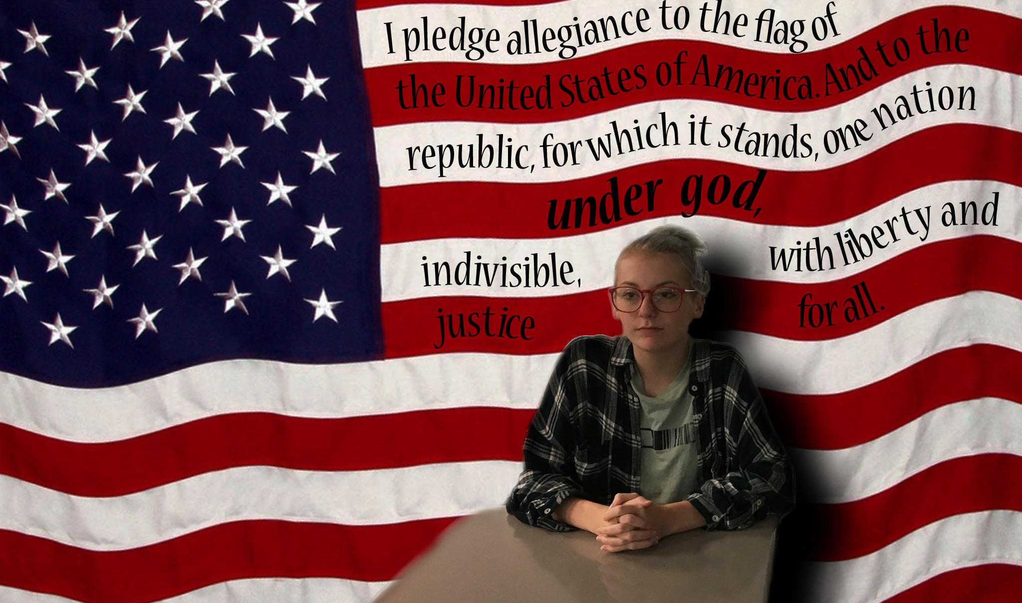 Summer Etzler sits for the pledge.