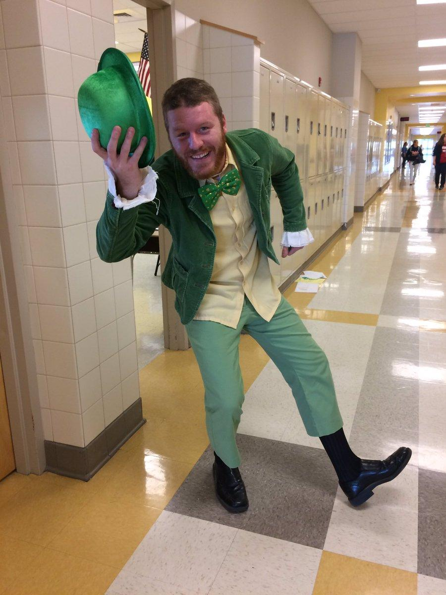 Mr. Bavir dressed up as a leprechaun, placing first in our Twitter poll for best costume.