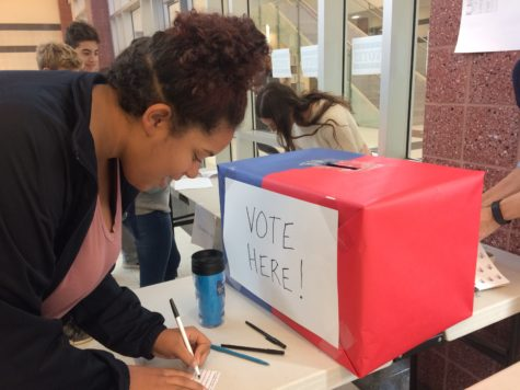 Kiley Gales, Class of 2019, votes for the presidential candidate of her choice.