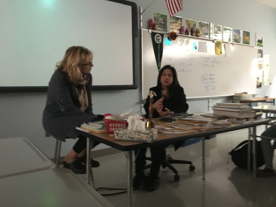 Ranjita+Cornette+talks+to+journalism+adviser++Natalie+Rebetsky+and+Lancer+Media+students+about+her+experiences+as+a+recording+artist.