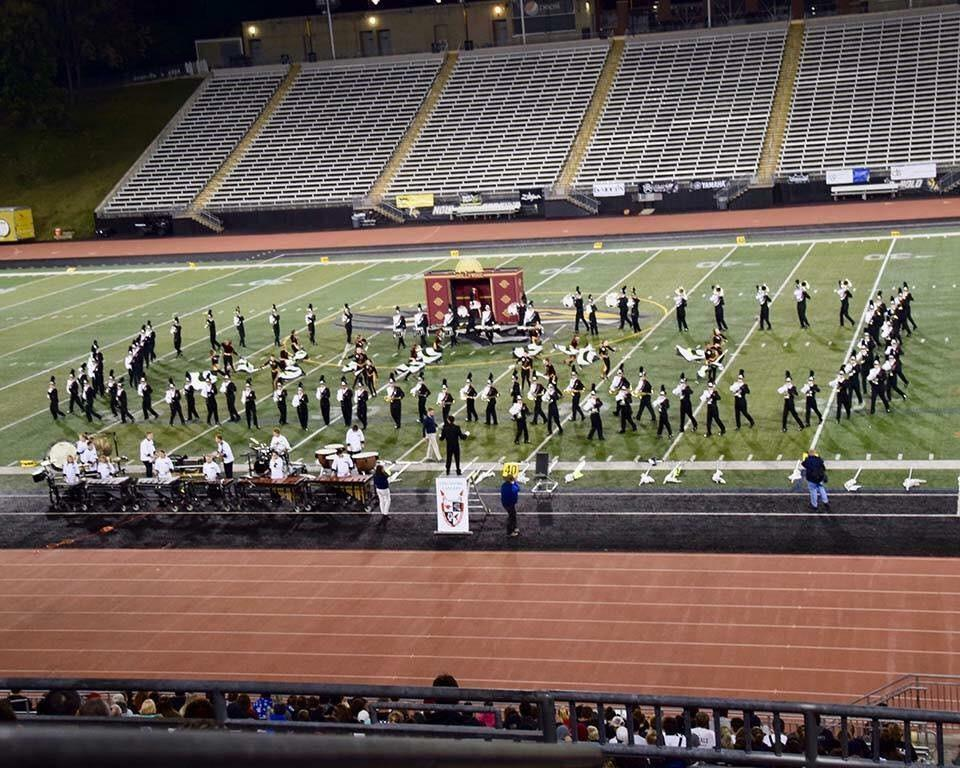 The Lancer Marching Band competes at Towson University.