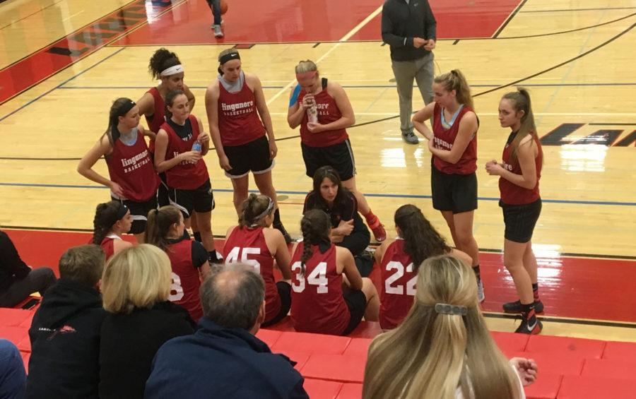 Easterday talks to her team before tip off.