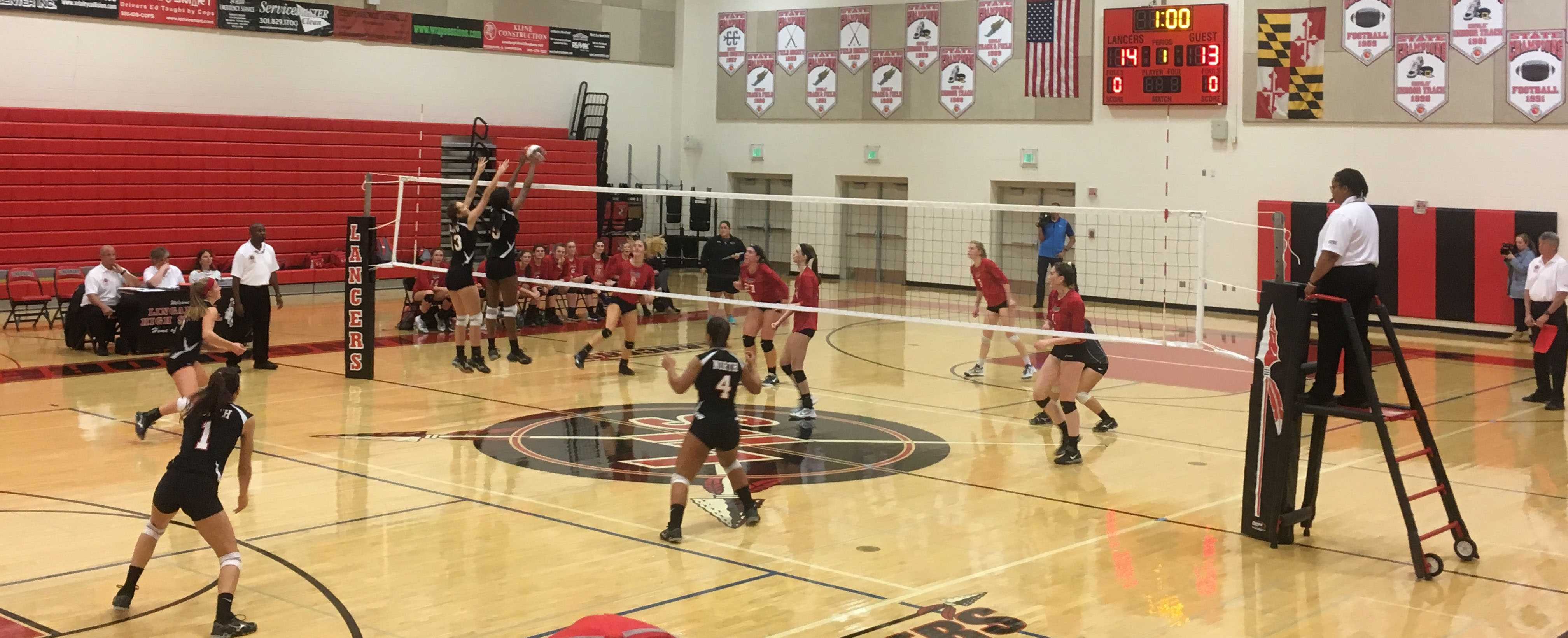 Linganore varsity girls volleyball playing against North Hagerstown.
