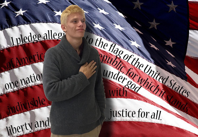 Brandon Cooper stands for the pledge.