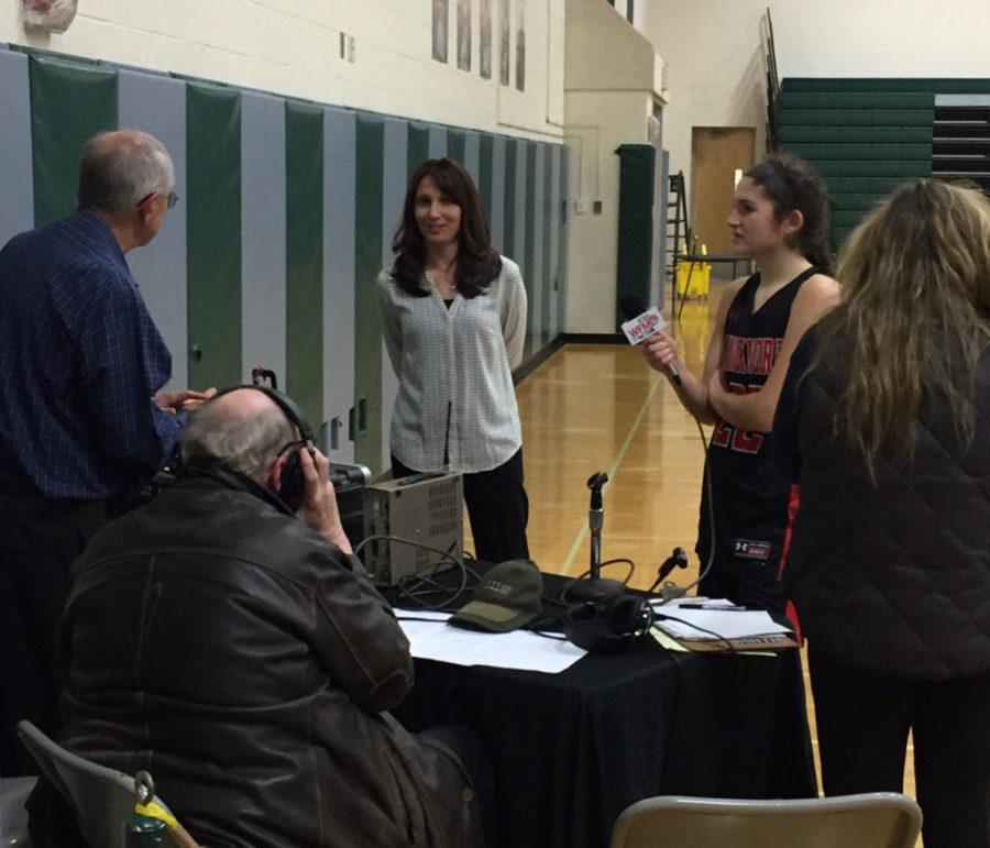 Easterday being interviewed with Caroline Ward after their win against Tuscarora last year.