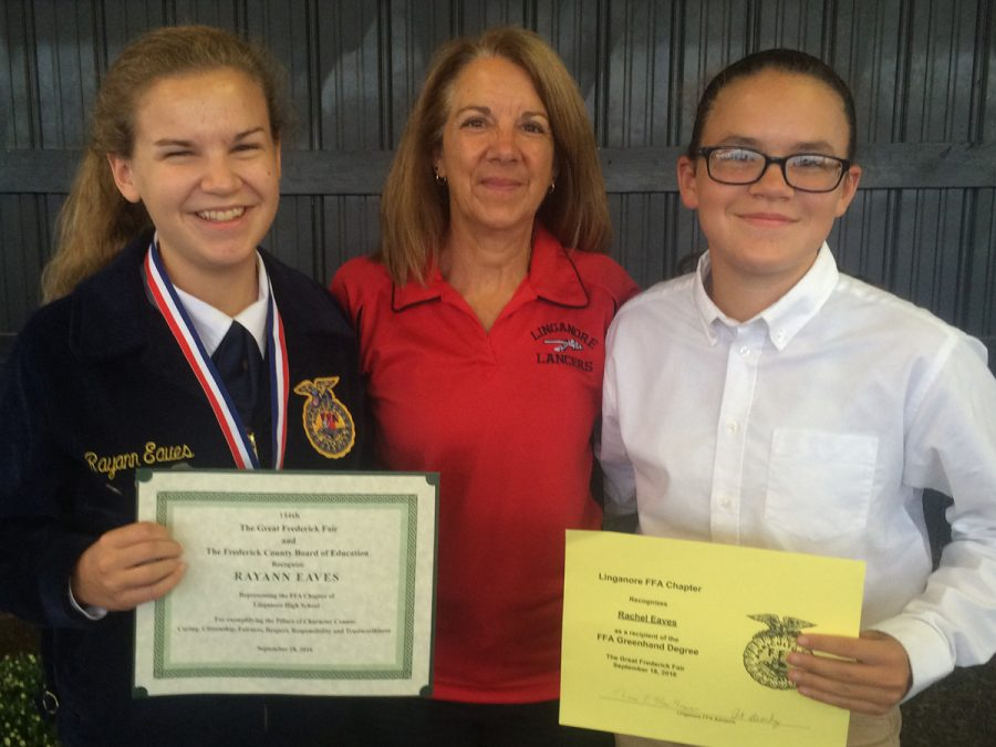 Rayann+%28left%29+and+Rachel+%28right%29+recieved+their+FFA+awards+at+the+Frederick+Fair+with+Mrs.+Doll.+