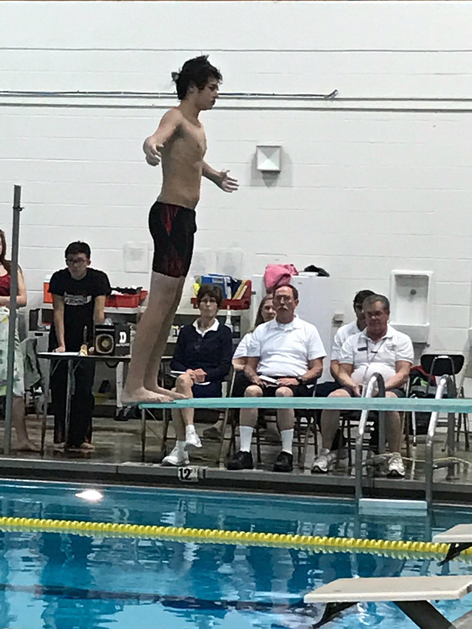 Clay Yingling, Class of 2018, prepares for his dive (January 9, against TJ High).