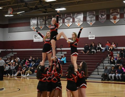 Alyssa Chappell (top middle) cheering at one of the basketball games.