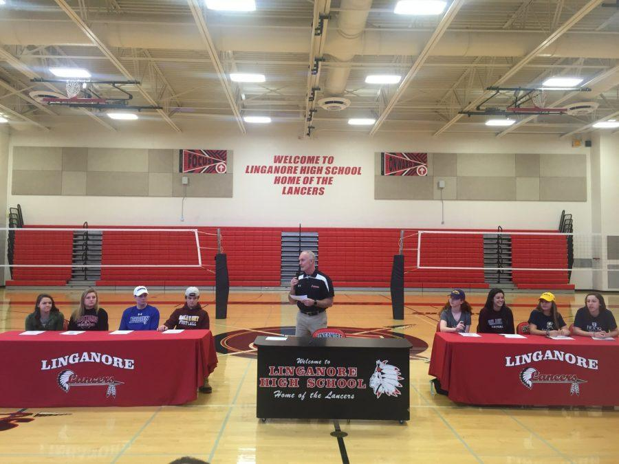 Coach Rick Connor introduces the 8 signing athletes on National Signing Day.