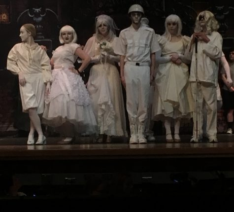 The Ancestors, Elise Fenstermacher, Presley Dougherty, Alyssa Chiarelli, Rowan Gallagher,  Sarah Bennett and Christian Howard, wait for direction from Samantha Buntman.
