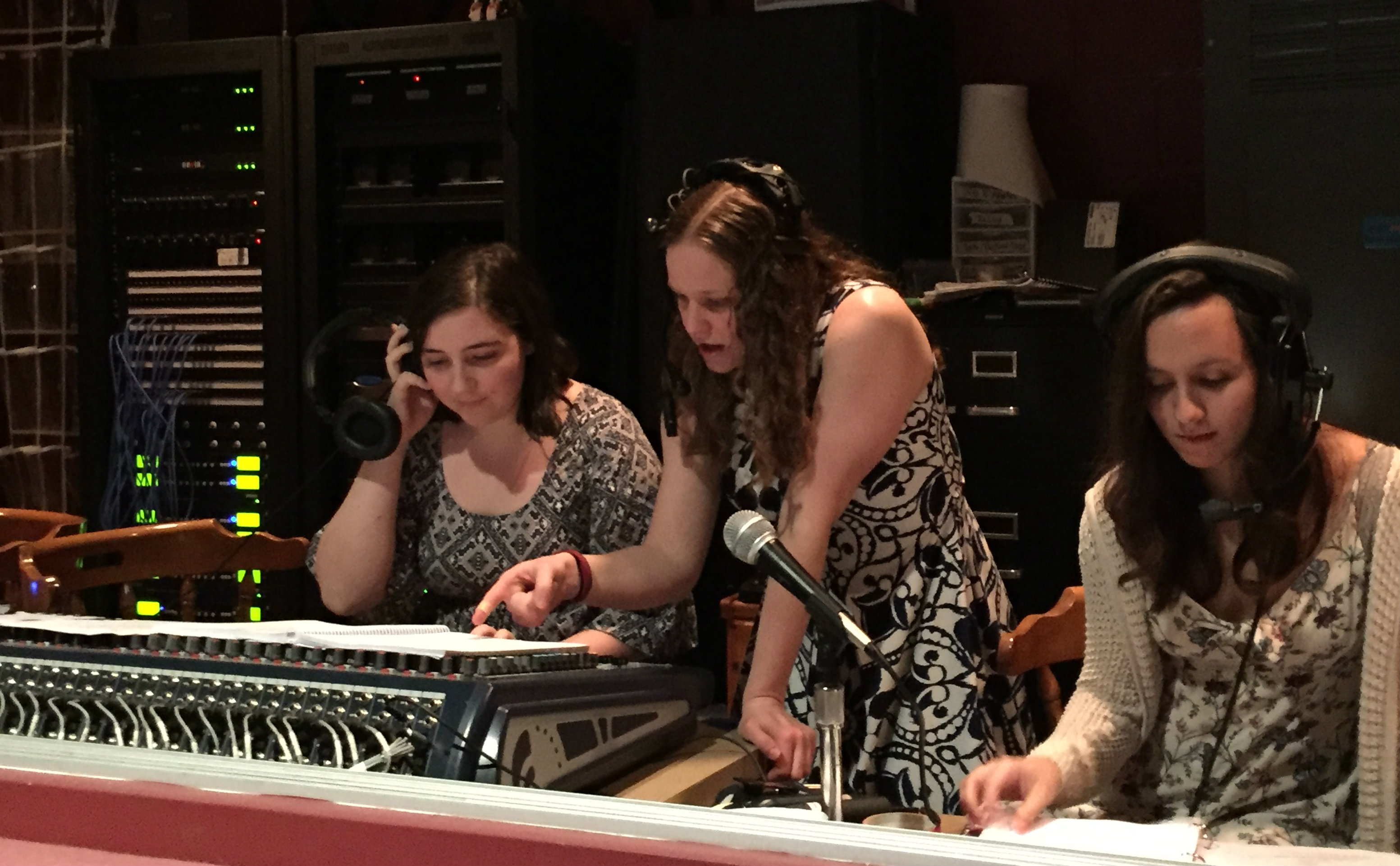 Allison Eckloff, Angela Smithhisler and Martha Madrid run cues for the show.