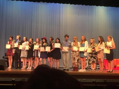 The new inductees to the French honor society.