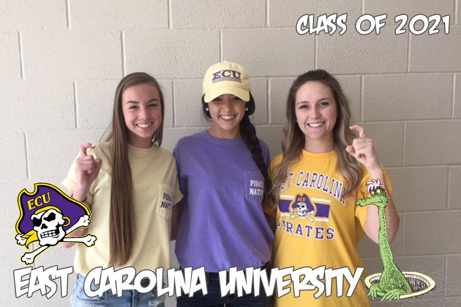 (Left to Right) Miranda Keaton, Emily Nemeth, and Ally Graziano will continue their educations at East Carolina University.