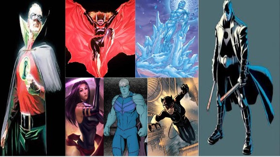 (left to right) Alan Scott Green Lantern, Batwoman, Psylocke, Iceman, Hulking, Catwoman, Midnighter