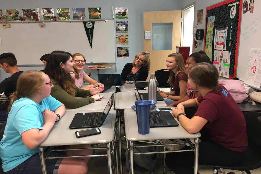 NEHS officers (left- Brenna Lindsay, Hannah Haught, Mallory Safsten right- Kelsey Ward, Haley Barge, Rosalia Tilmont), meets to discuss NEHS for this school year.