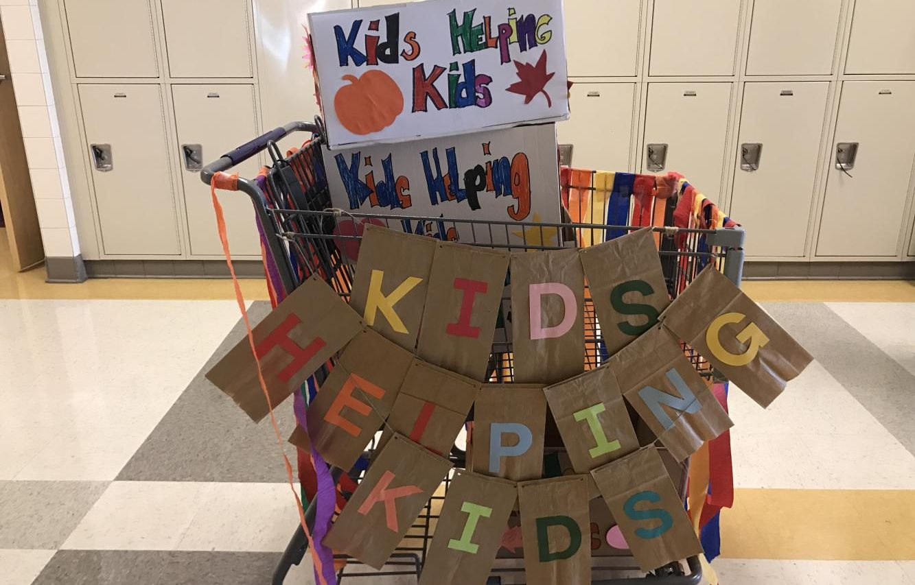 Mrs. Henry's students decorated boxes and a shopping cart for the drive.