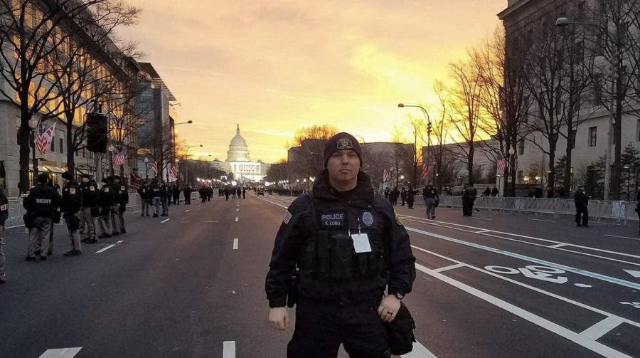 Officer Kevin  Long on duty the day of the 2017 Presidential Inauguration.