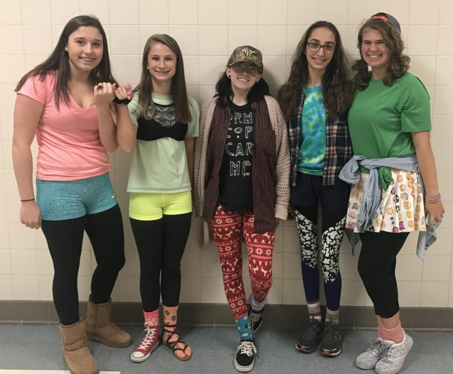 (Left to right) Rachel McCoy, Ashley Nash, Greyston Harding, Renata Farrell and Katie Brengel dress up for