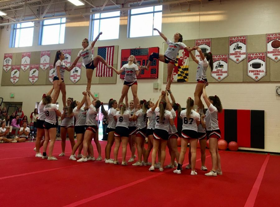The Varsity Cheer Team Performing at the Pep Rally.