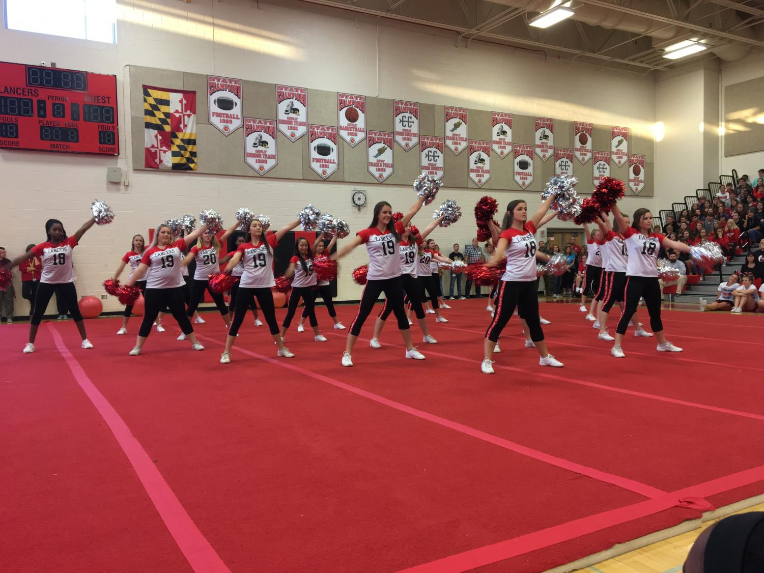 Pom and Dance team performs at the 2017 Homecoming Pep Rally.