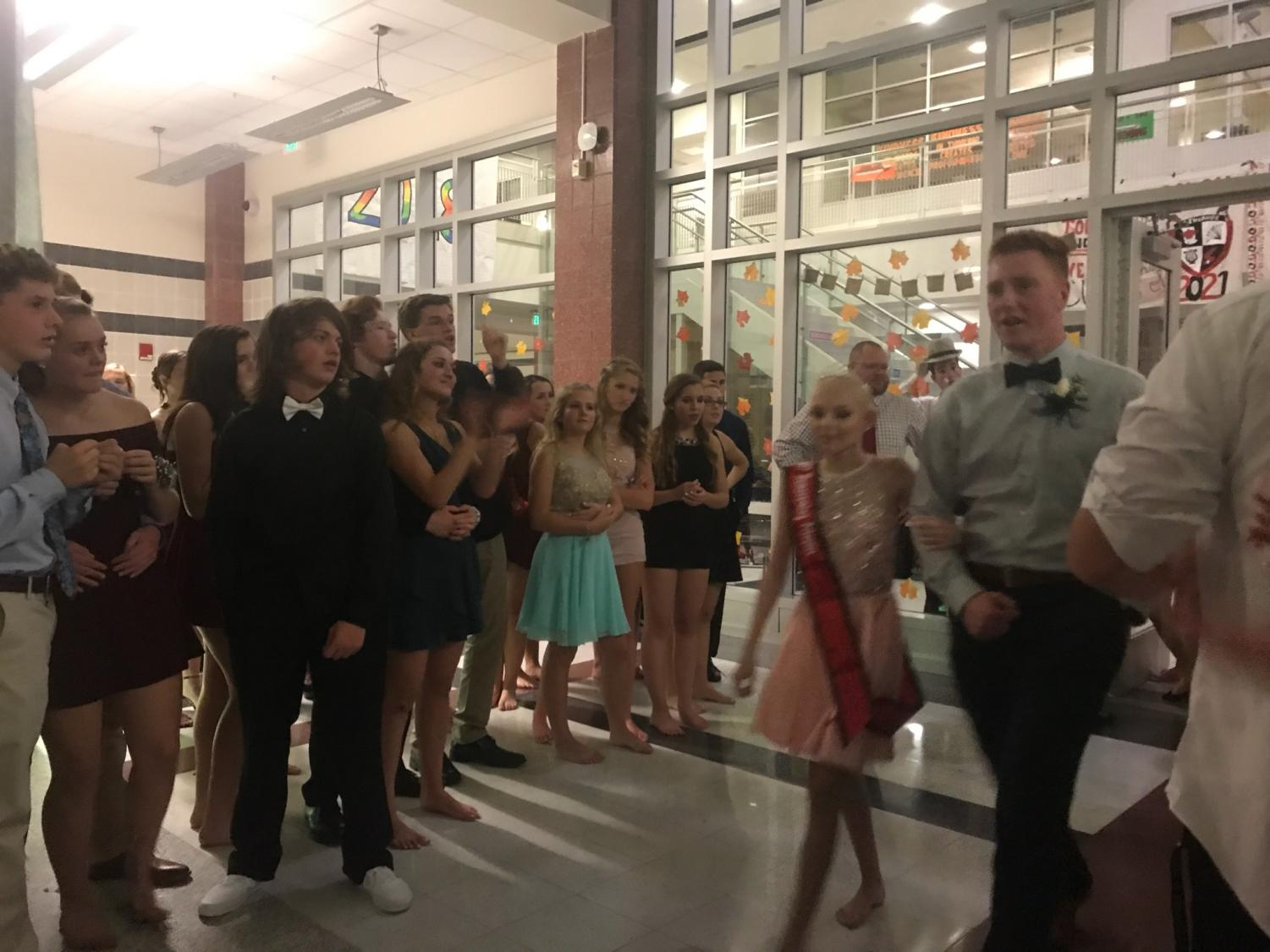 Prince Garrett Reese and Princess Lily Weaver of class of 2019 enter the dance.