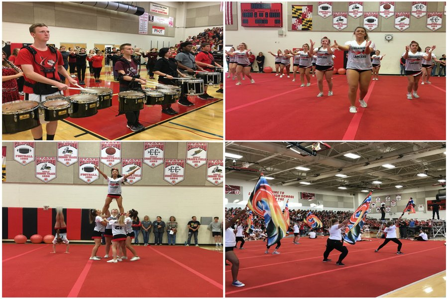 Marching band, JV Cheer, Color guard, and varsity cheer perform.