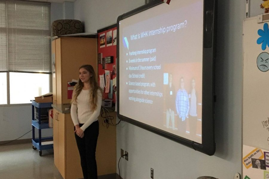 Madison Reeley makes her presentation about internships.