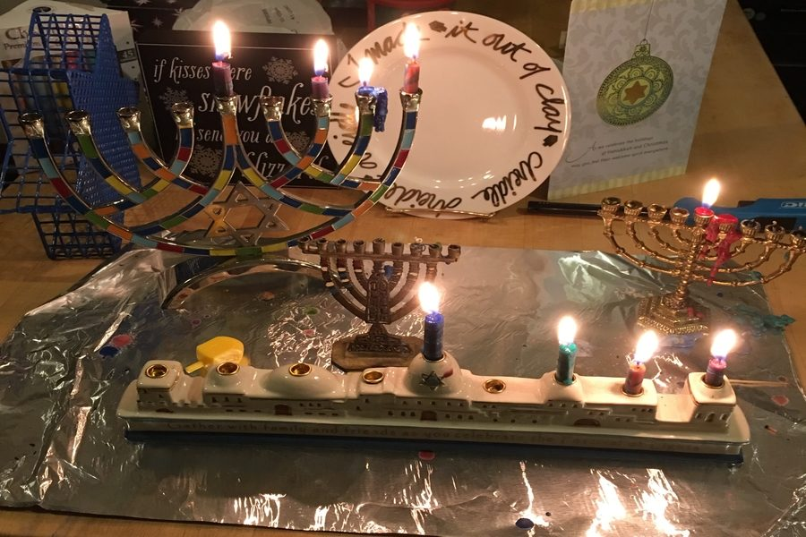 This is the Jewish display at the Blue home during Hanukkah